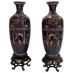 Pair of Meiji Period Japanese Cloisonne Vases with Rosewood Stands