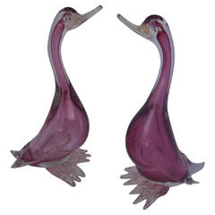 Pair of Magenta Murano Sommerso Glass Geese by Alfredo Barbini, 1960