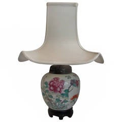 Mid-19th Century Chinese Export Lamp with Silk Shade