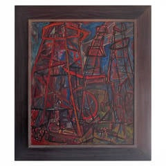 Mid-Century Industrial Abstract Oil on Canvas Painting