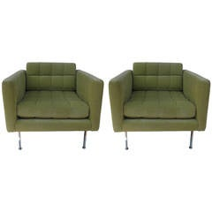 "Pair of Key Lime 'Cube"" Club Chairs Authentic Harvey Probber"
