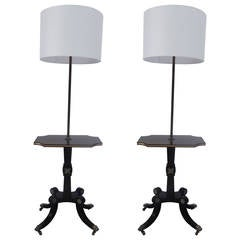Pair of Ebonized Regency Style Floor Lamps with Rosewood Tables