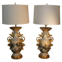 Pair of French Hand-Painted Porcelain Urns Now as Lamps