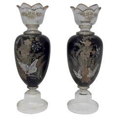 Antique Pair of Hand Enameled European Glass Garniture Vases