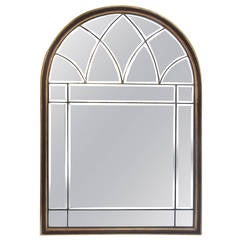 Italian Midcentruy Window Style Arched-Top Beveled Mirror