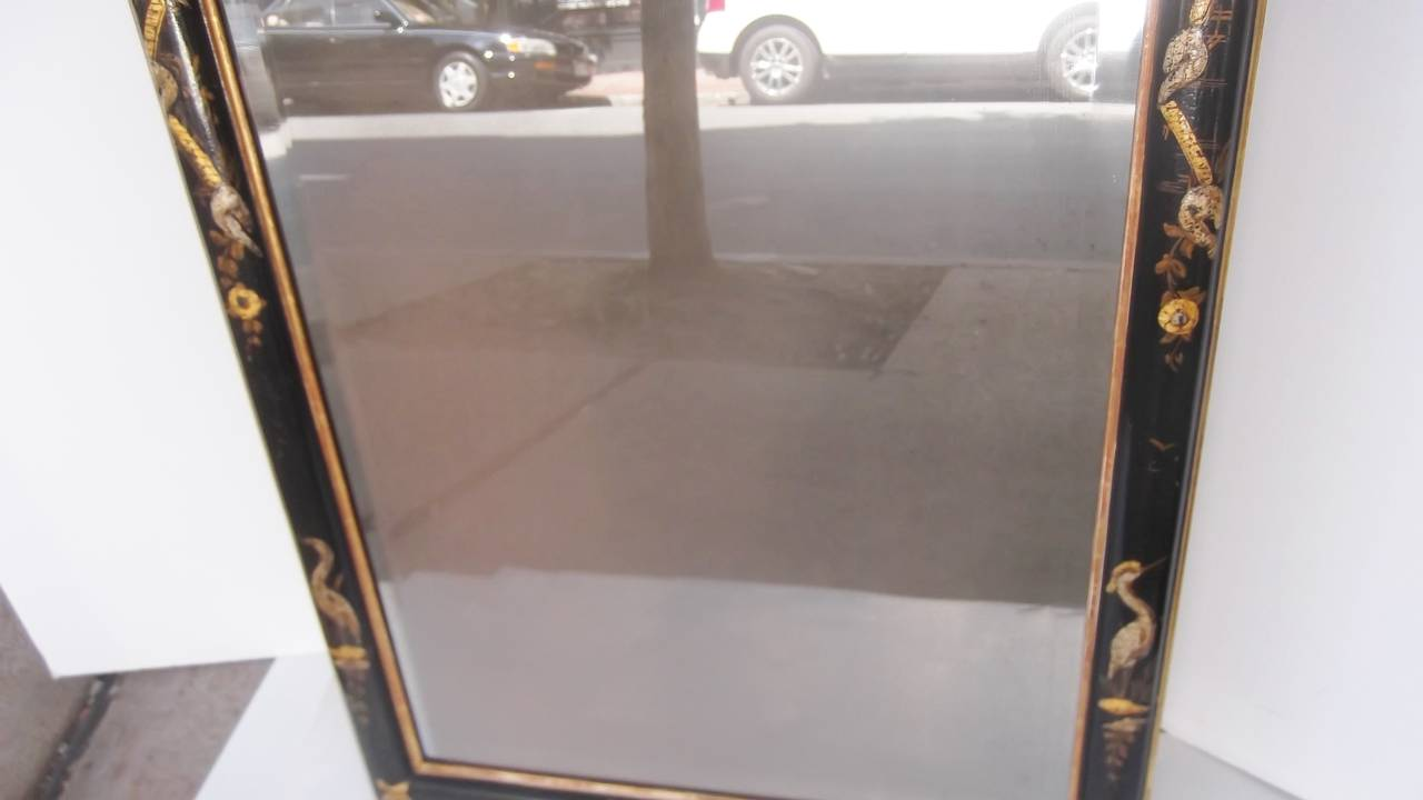 Hand Painted Chinoiserie Framed Beveled Mirror At 1stdibs