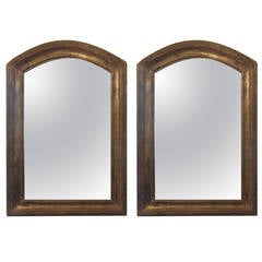 Pair of Giltwood Arched Top Mirrors