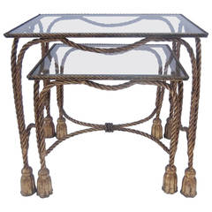 Gilt Iron Rope and Tassel Nesting Tables with Glass Tops