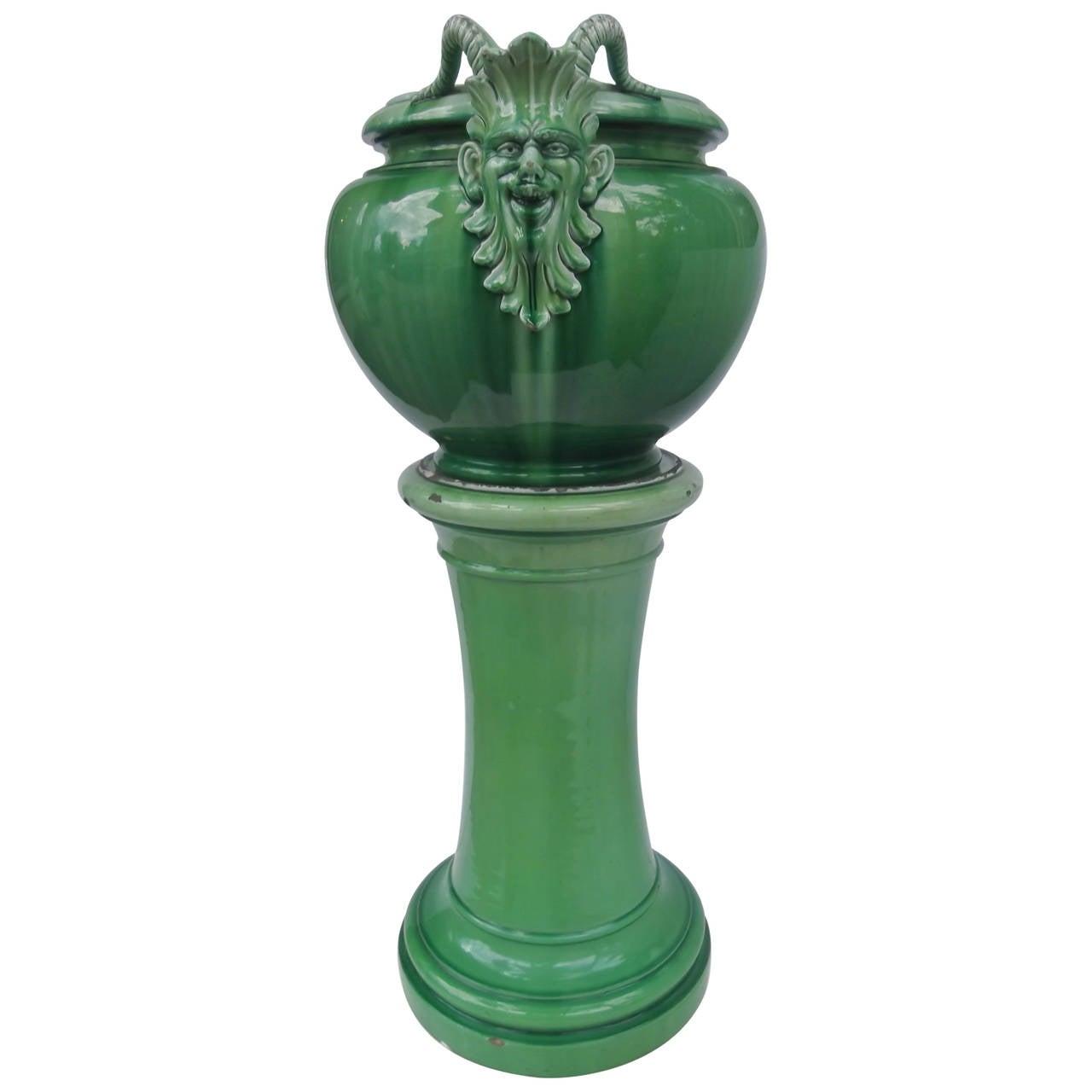 Vibrant green italian majolica jardini re with base at 1stdibs for Jardiniere decorative