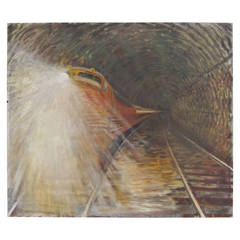 Oil on Canvas of a Fast 1950-1960s Train in Tunnel