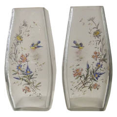 Pair of French Mount Joye Hand-Enameled Etched Glass Vases