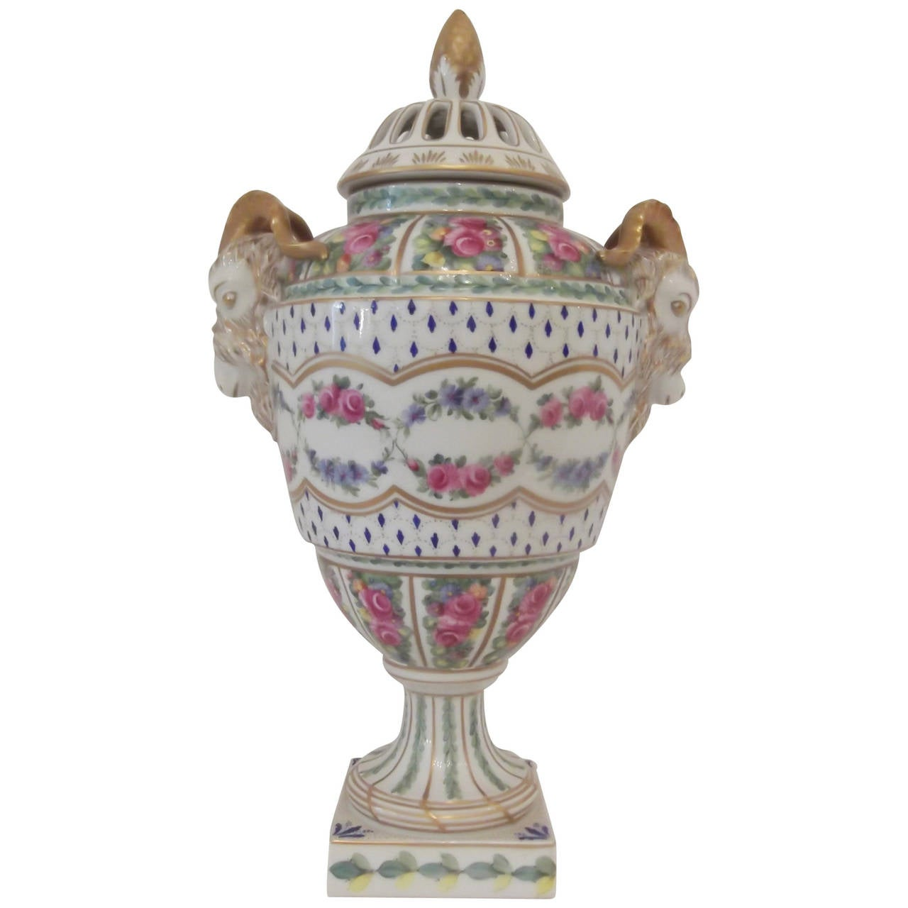 Antique Dresden Hand Painted Porcelain Urn With Rams Head