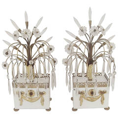 Pair of Decorator Cystal Mid Century Buffet Lamps