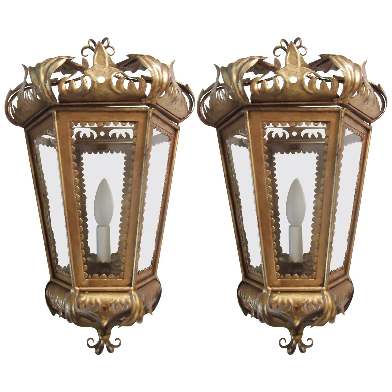 Pair of Hollywood Regency Gilt Toleware Italian Sconces