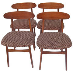 Set of Four Crecent-Back Danish Style Side Chairs