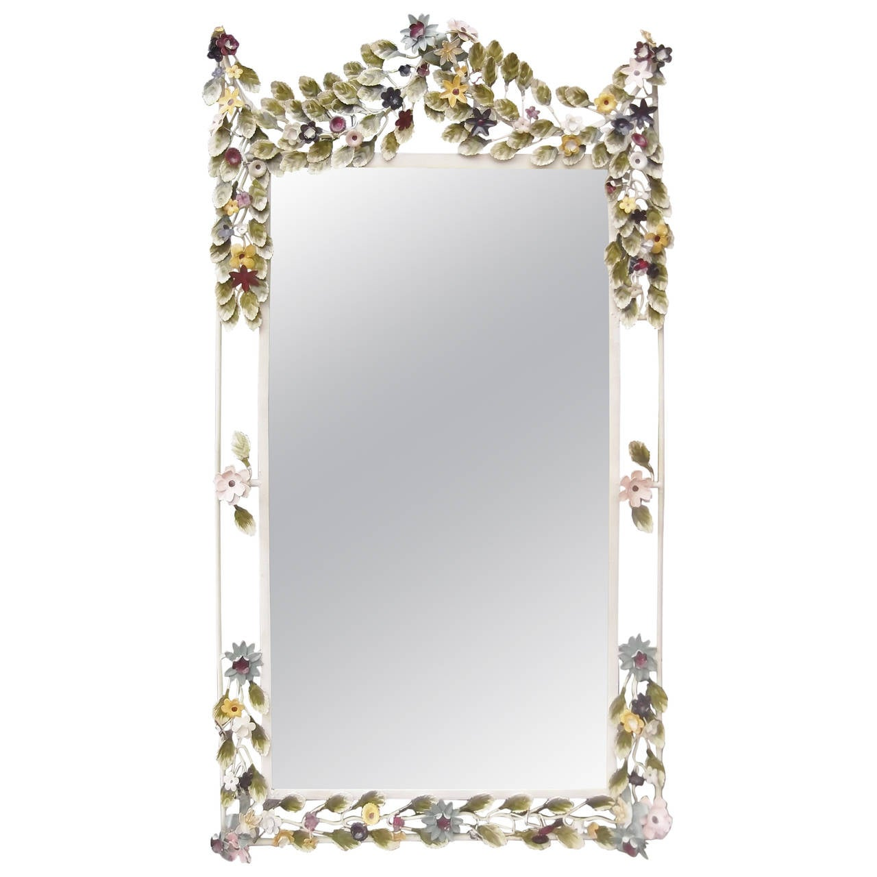 Italian Tole Painted Floral Mirror At 1stdibs