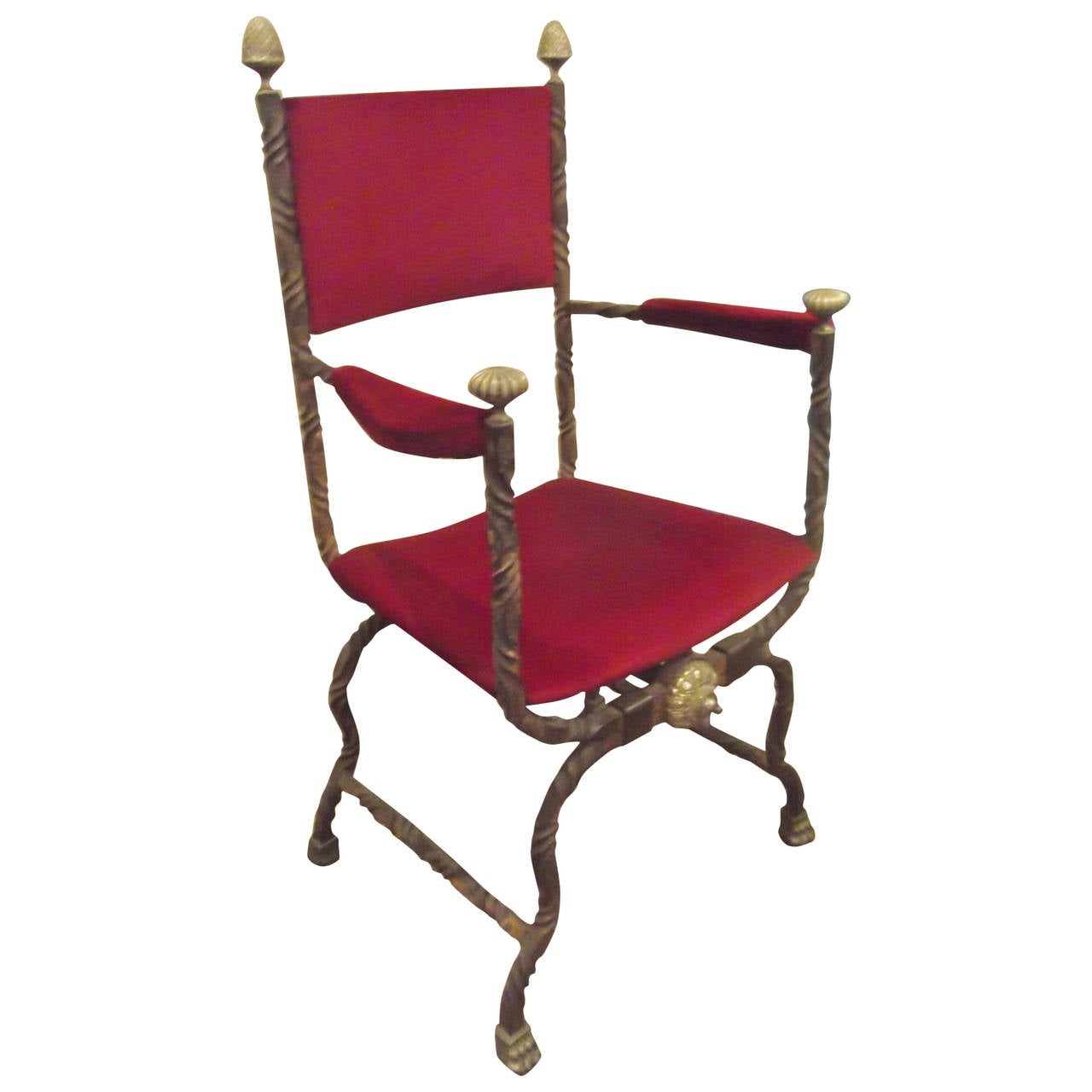 hand wrought iron and cast brass savonarola chair at 1stdibs. Black Bedroom Furniture Sets. Home Design Ideas