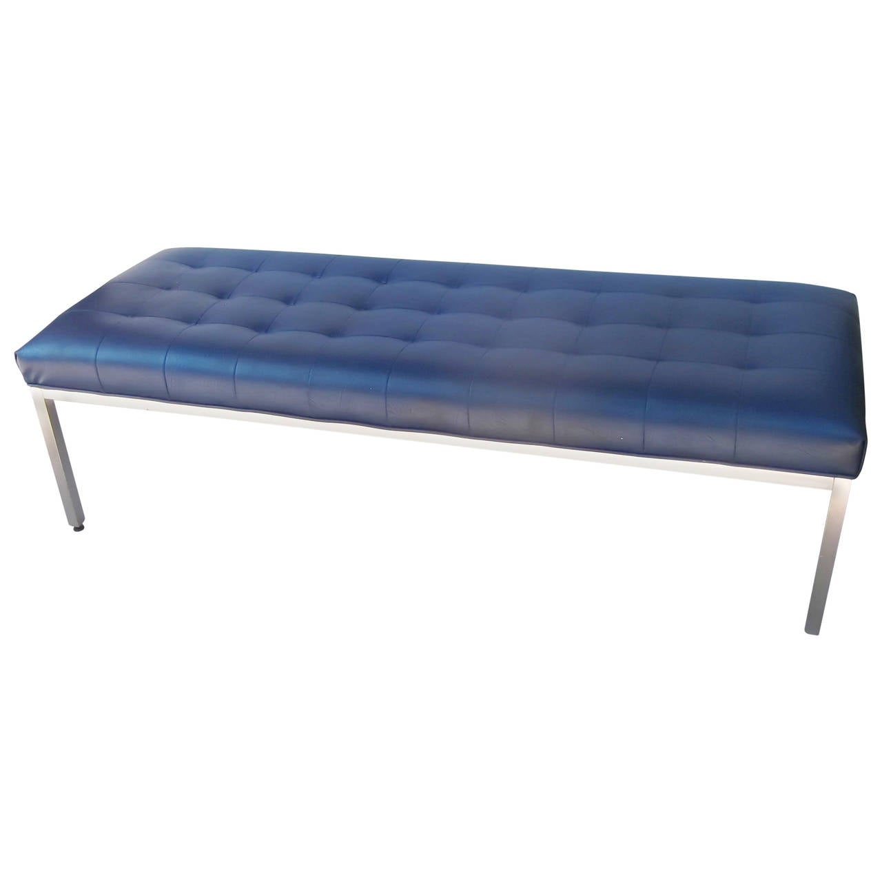 Midcentury brushed aluminum and vinyl tufted bench by knoll at 1stdibs Aluminum benches