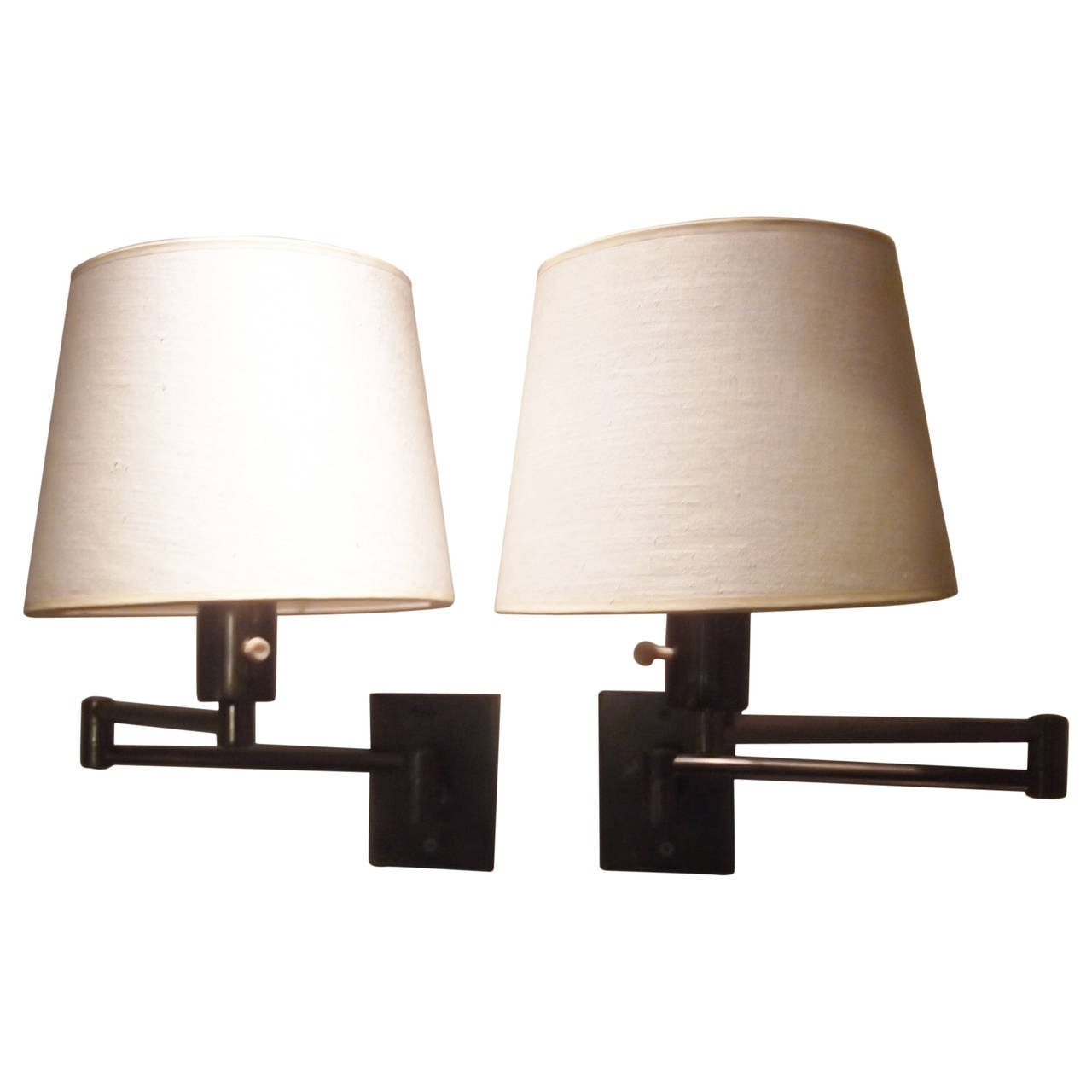 Pair of Brass Mid Century Hansen Swing Arm Wall-Mounted Lamps at 1stdibs