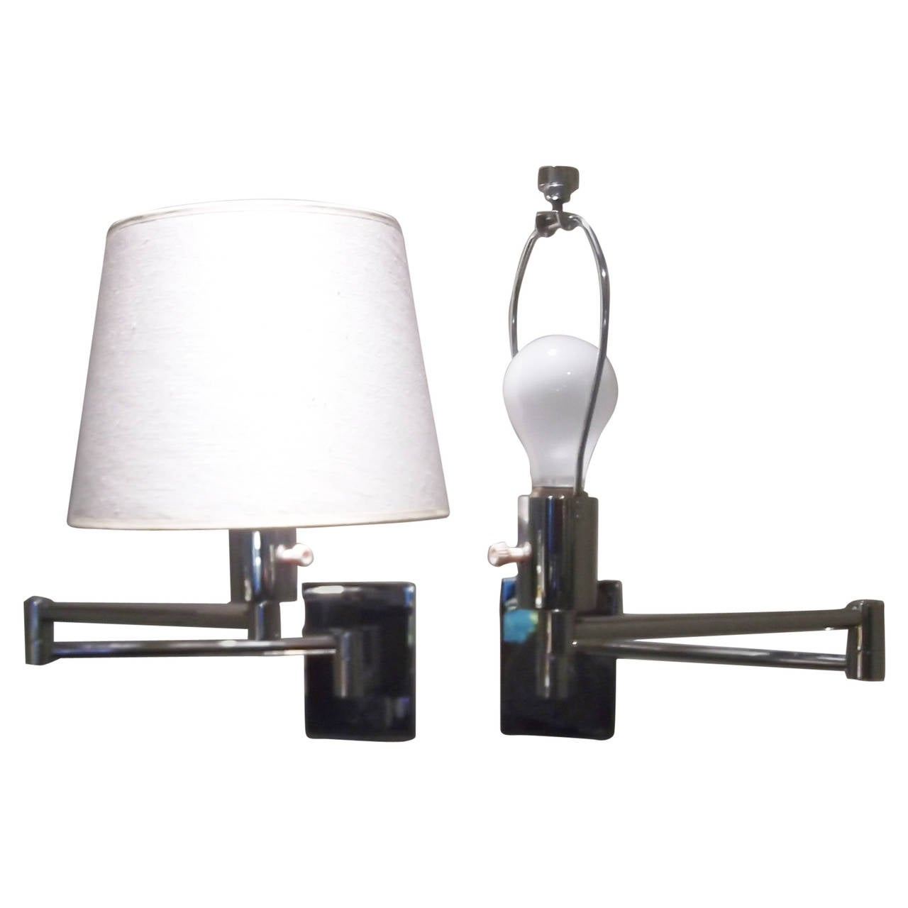 Pair of Chrome Mid Century Hansen Swing Arm Wall-Mounted Lamps For Sale at 1stdibs