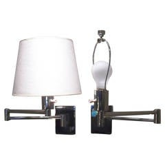pair of chrome mid century hansen swing arm wallmounted lamps