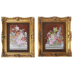 Pair of French Painted Porcelain Framed Plaques