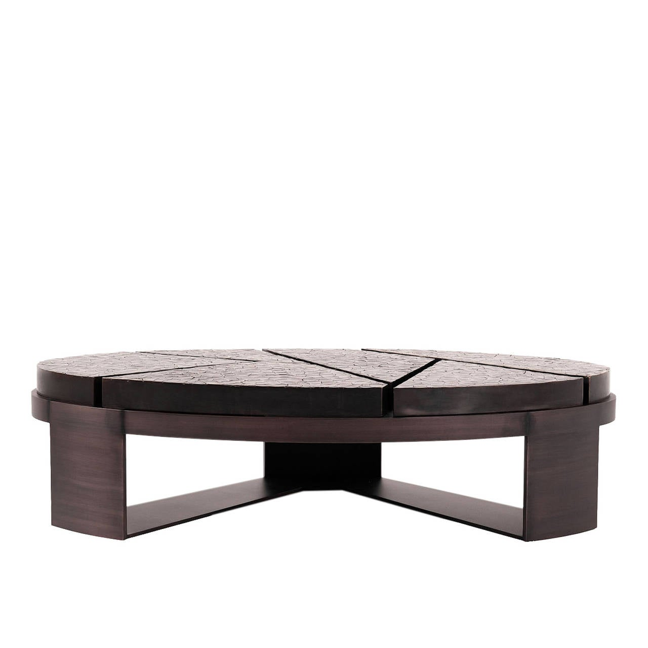 A unique oval coffee table, designed with a specialized cracked earth bronze patina top, inspired by the cracked landscape of South Africa, sits proudly above an exquisite bronze patina base.   This item is made to order with a lead time of 10-12