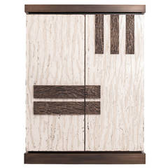 Contemporary Isabella Cabinet in Oak with Limestone Resin and Bronze Doors