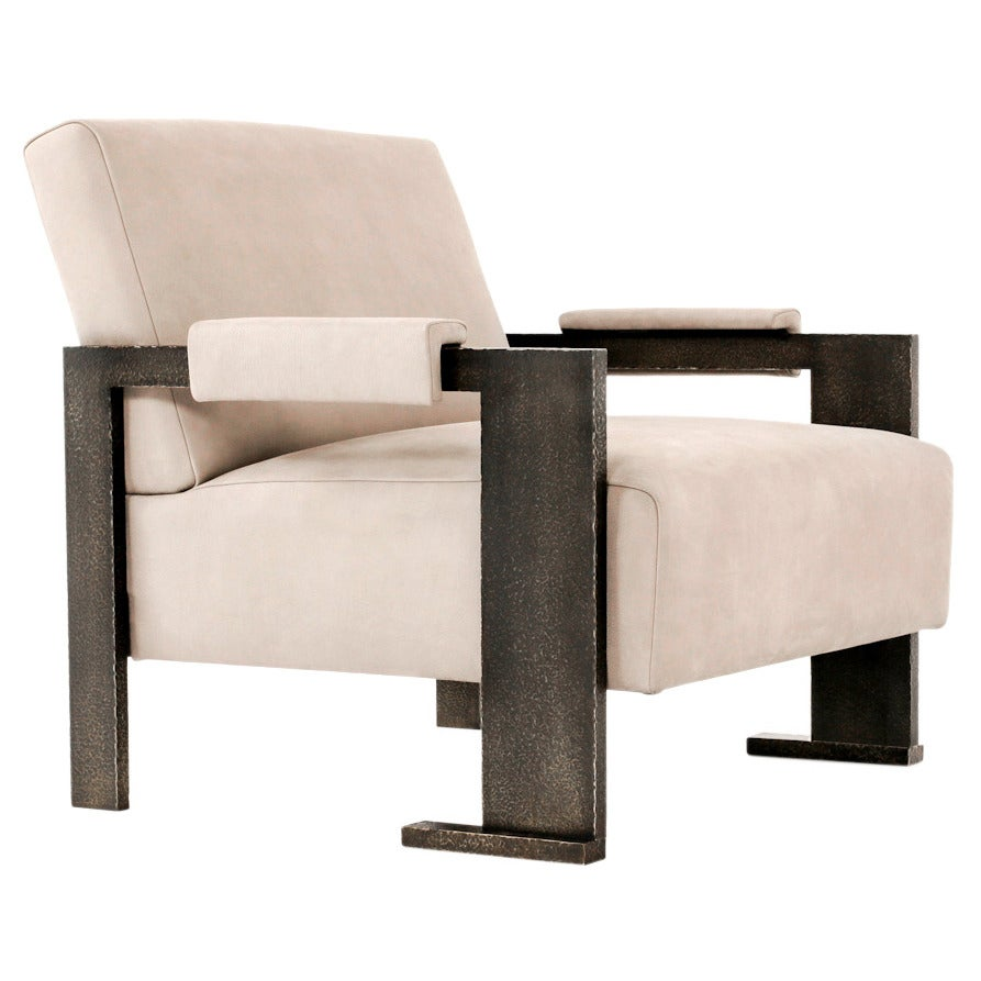 sol chair contemporary armchair with dark planished brass and  - sol chair contemporary armchair with dark planished brass and buffaloleather