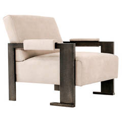 Sol Chair Contemporary Armchair with Dark Planished Brass and Buffalo Leather