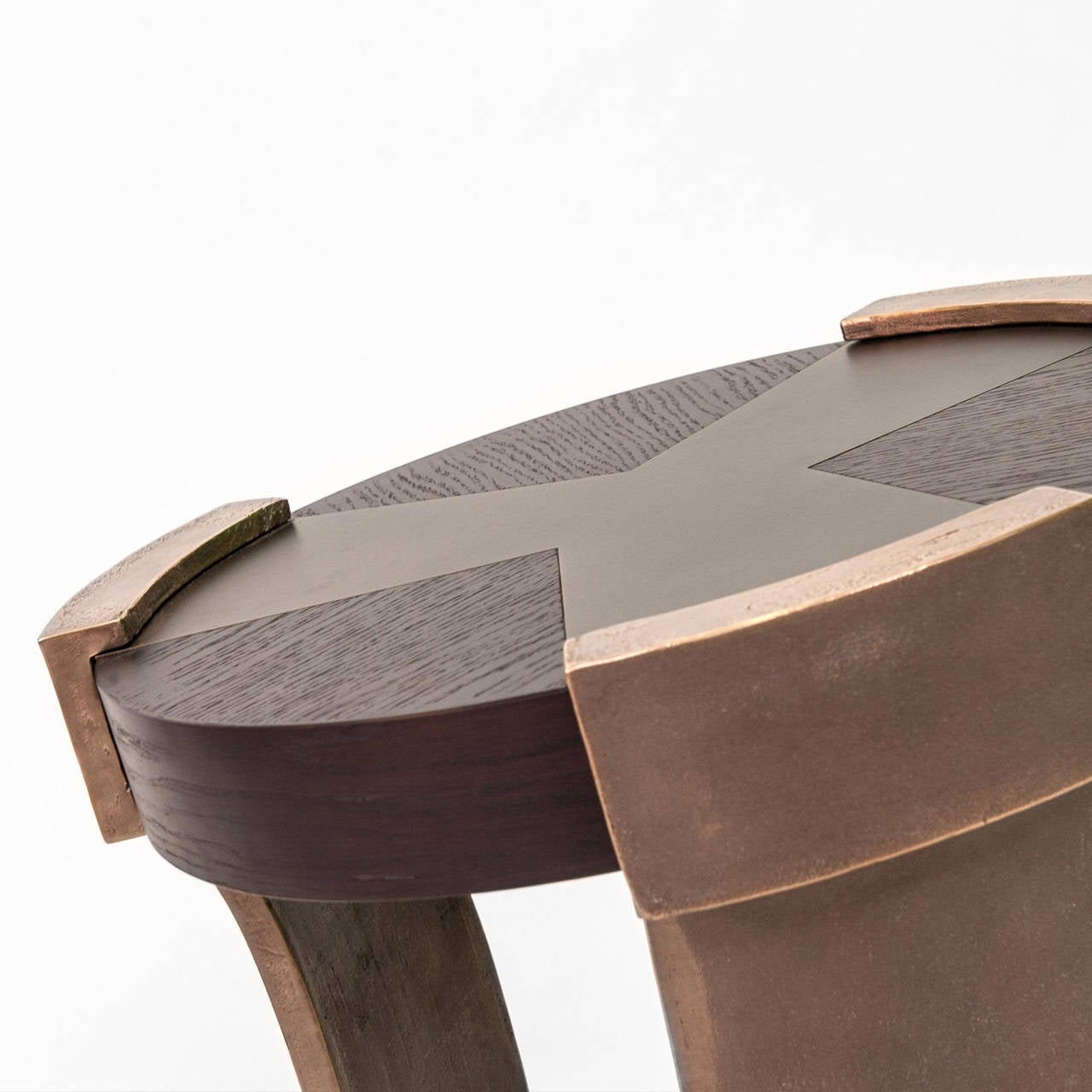 Oswald Side Table With Chocolate Brown Oak Top And Bronze