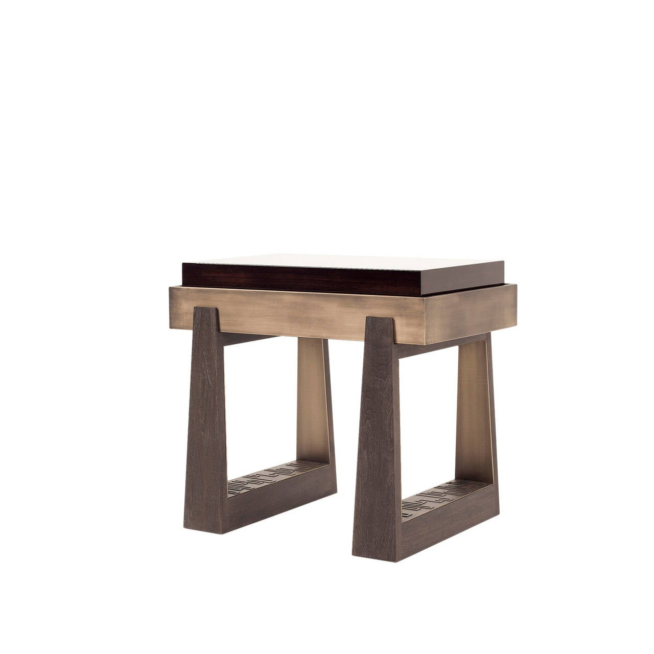 Side table with high gloss walnut top natural walnut and for Walnut side table