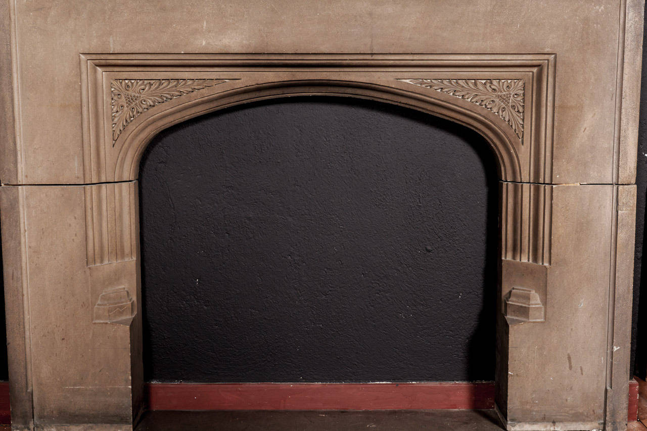 Antique tudor style carved limestone fireplace mantel image 3 for Tudor style fireplace