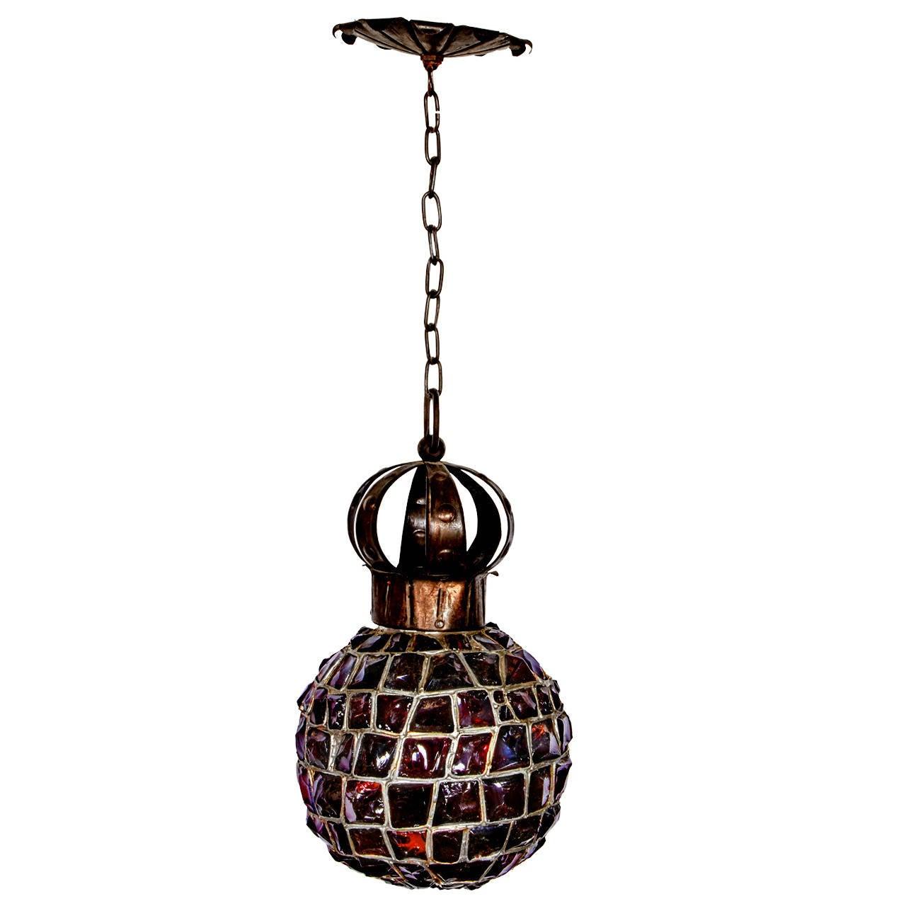 Spherical handmade rock art glass pendant light at 1stdibs Artisan glass pendant lights