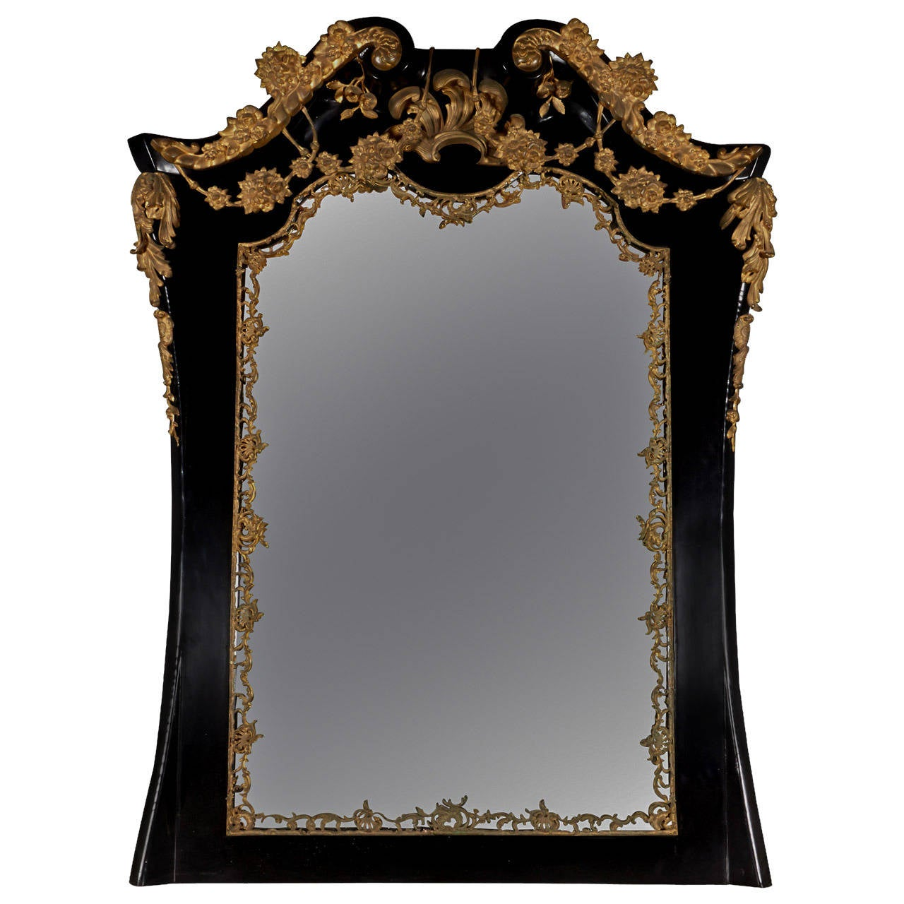 Georgian revival style black lacquered overmantel mirror for Fireplace mirrors