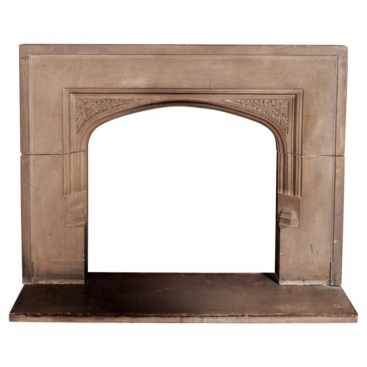 Antique tudor style carved limestone fireplace mantel at for Tudor style fireplace
