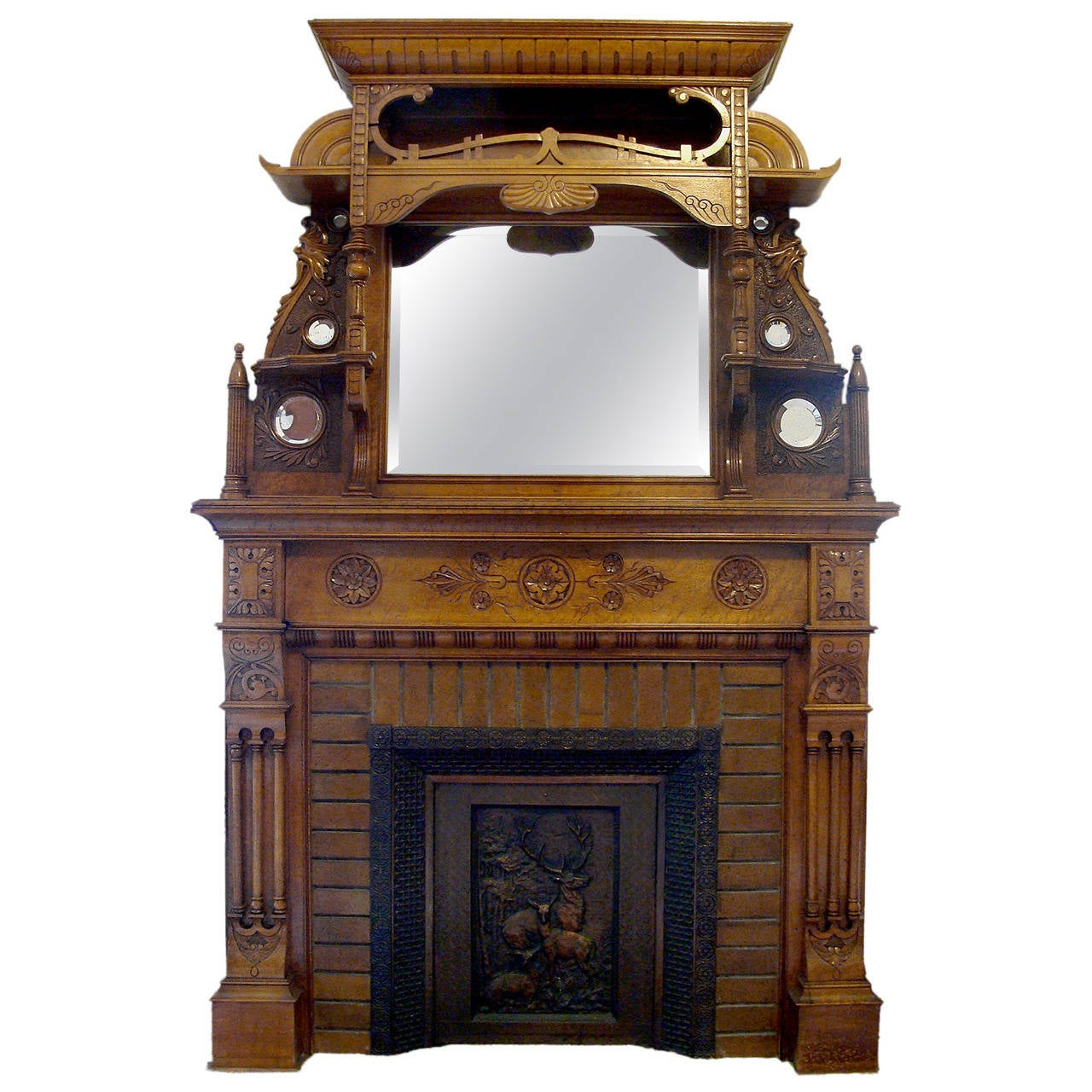 unique 1890s carved maple fireplace mantel at 1stdibs