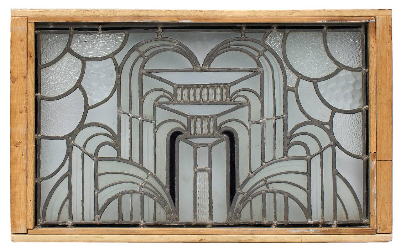 English art deco leaded glass window image 9 for Art deco glass windows