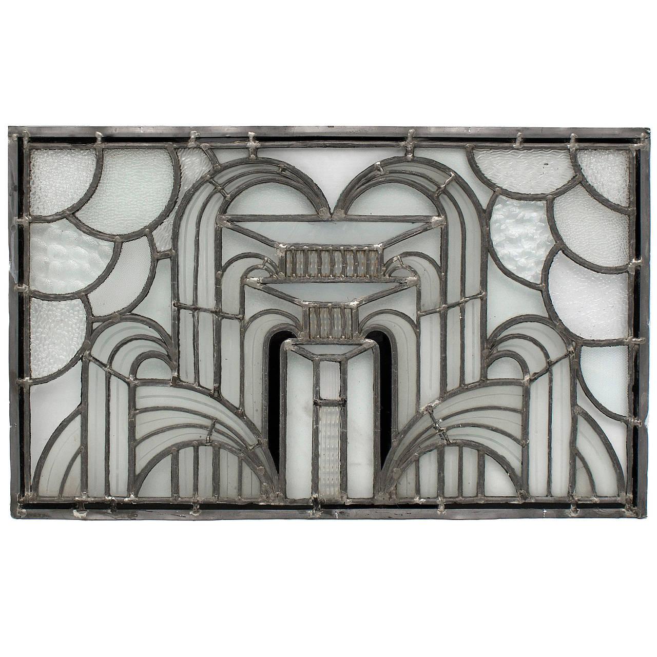 English art deco leaded glass window at 1stdibs for Art deco glass windows