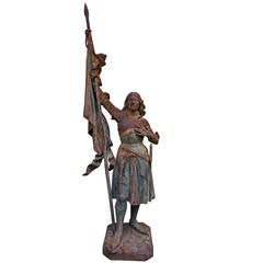 Joan of Arc, Late 19th Century French Cast-Iron Statue