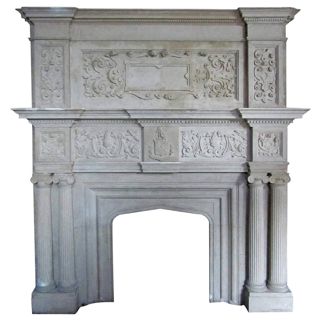 Large Indiana Limestone Tudor Revival Style Fireplace Mantel At 1stdibs