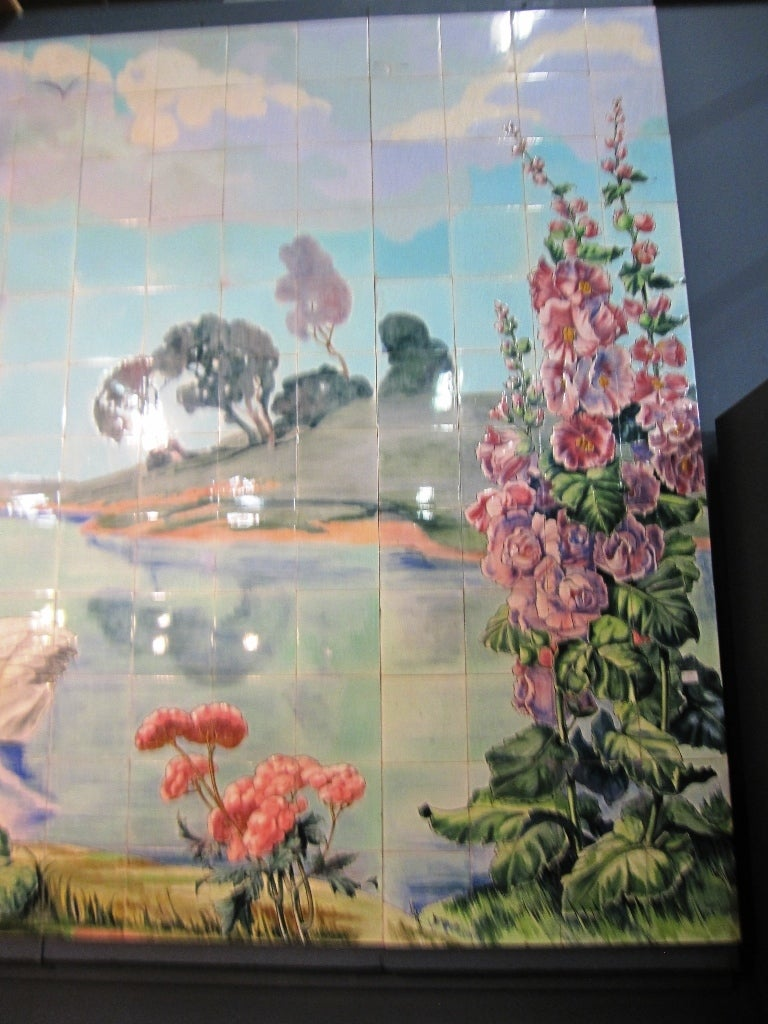 Art nouveau tile mural made of antique tiles belgium at for Art nouveau mural