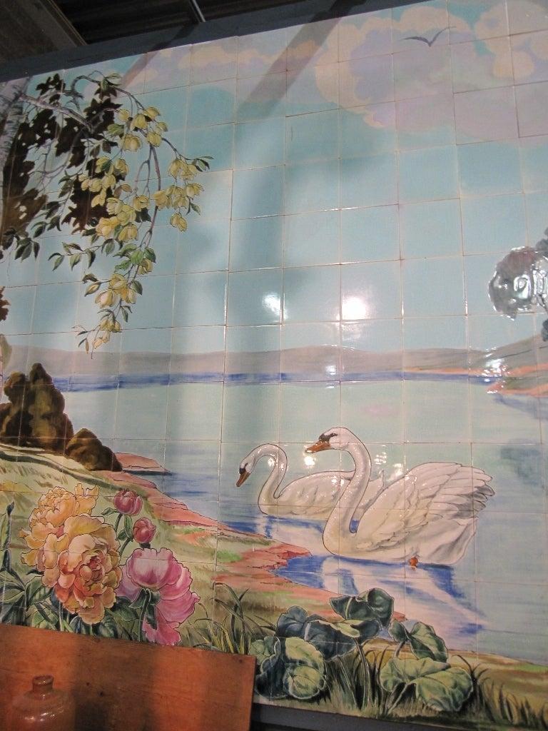 Art nouveau tile mural made of antique tiles belgium for for Art nouveau mural