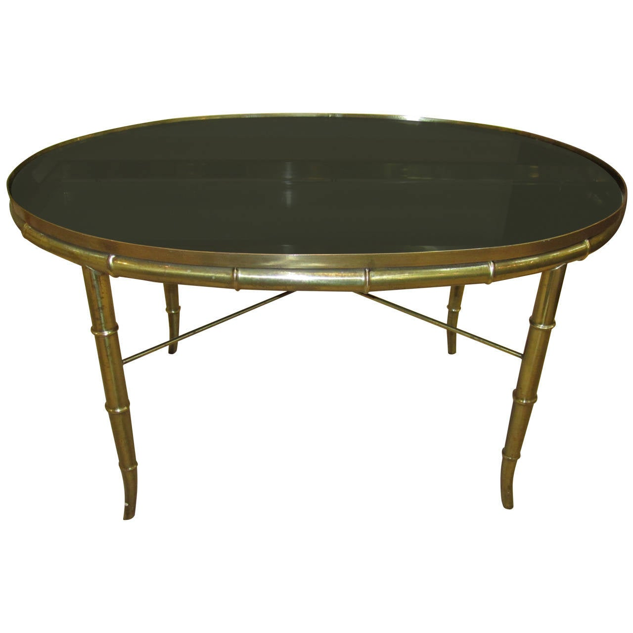Italian Brass Cocktail Table With Black Mirrored Top At 1stdibs