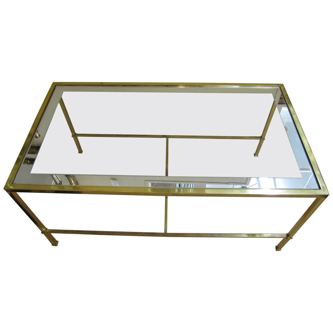Modern Brass and Glass Cocktail or Coffee Table after Harvey Probber
