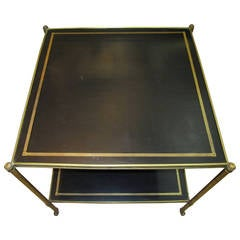 Two-Tier Maison Jansen Brass and Black Leather End Table, French 1940s