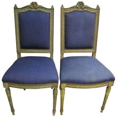 Pair Antique French Louis XVI Upholstered Side or Hall Chairs