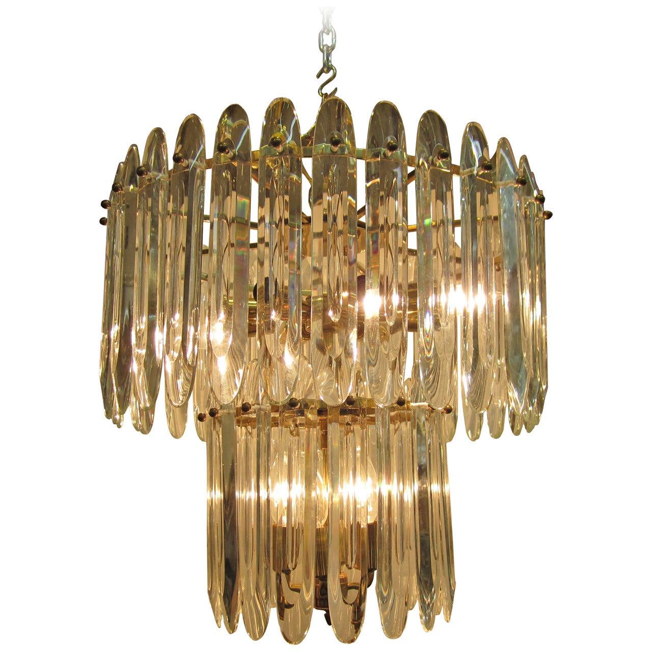 Italian Crystal and Brass Chandelier by Gaetano Sciolari