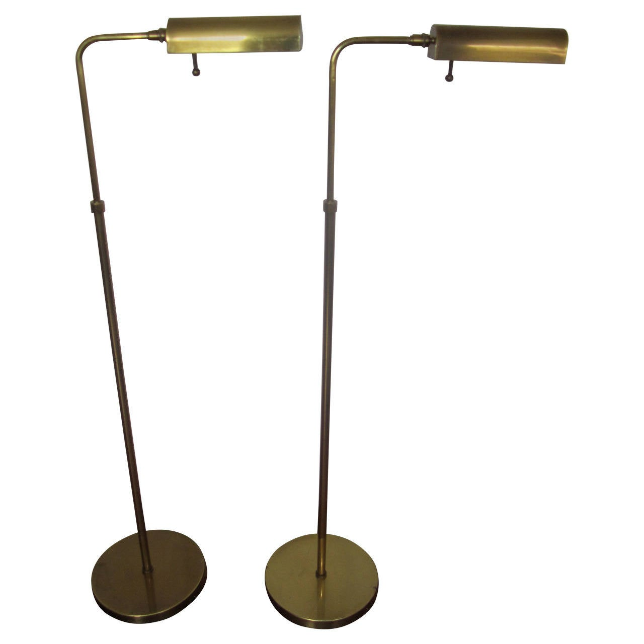 Brass Floor Lamp Mid Century: Mid-Century Pair Of Brass Adjustable Floor Lamps By