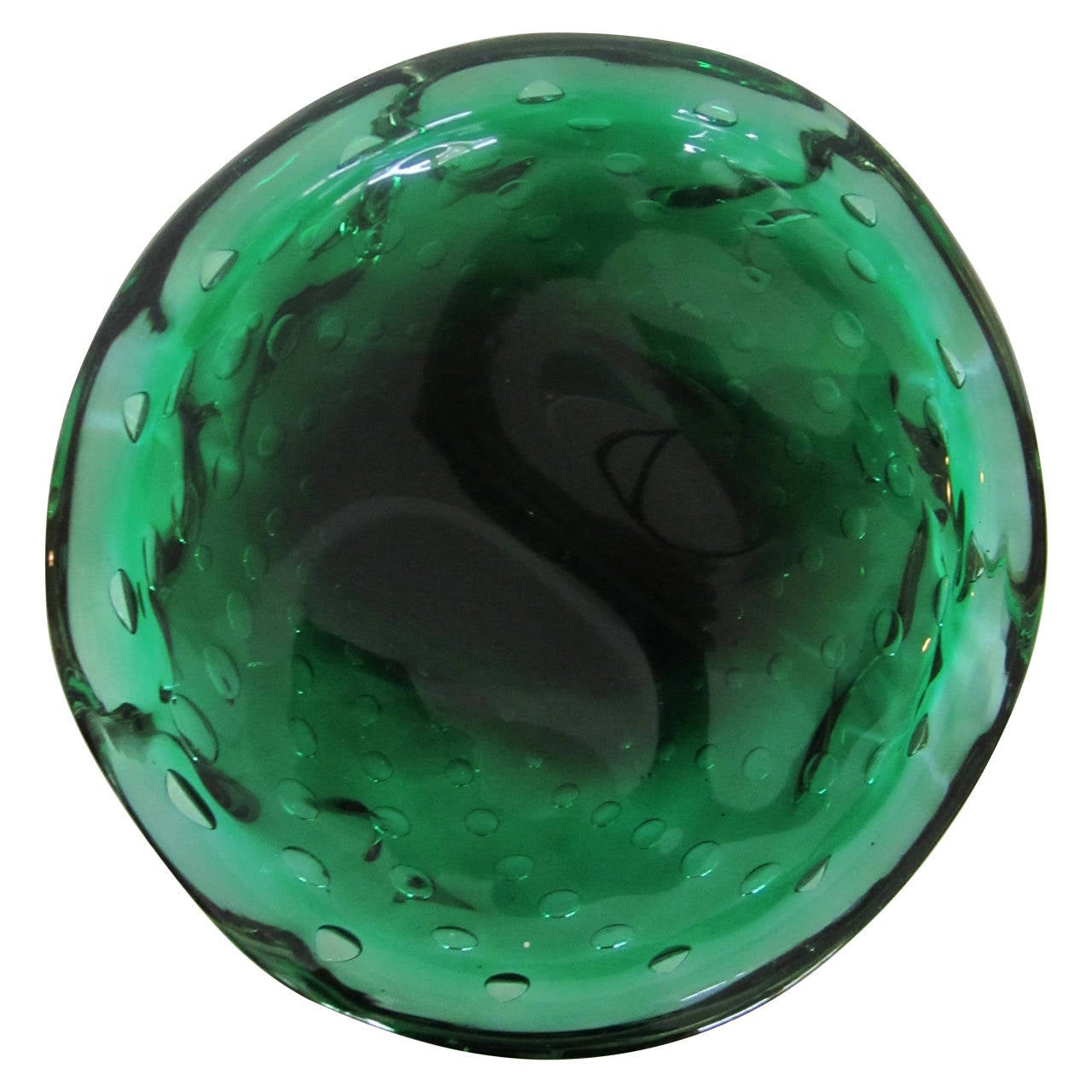 Vintage emerald green murano art glass bowl italy for for Green italy